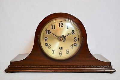 ANTIQUE 1930s GERMAN MAHOGANY NAPOLEON HAT DOUBLE CHIMING MANTEL CLOCK