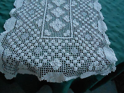 Antique Hand Embroidered Filet Lace Runner, Circa 1930