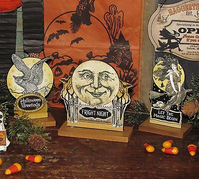 3 Primitive Antique Vtg Style Die Cut Halloween Fright Night Moon Witch Owl Sign