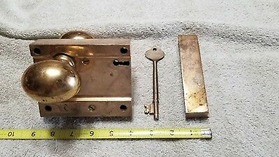 Antique Solid Brass Rim Lock Door Knob set with Keeper and Key nice