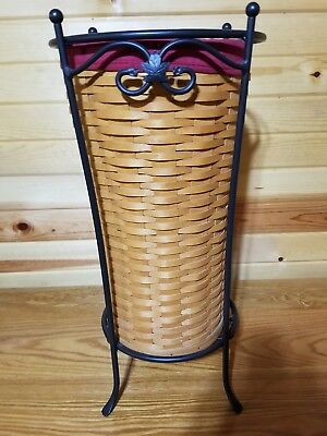 Longaberger UMBRELLA BASKET With Wrought Iron Stand liner and protector 1998