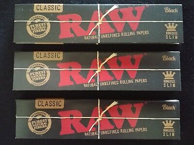 3 x Raw Black Hemp King Size Slim Rolling Papers Natural Unrefined Organic 110mm