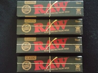 4 x Raw Black Hemp King Size Slim Rolling Papers Natural Unrefined Organic 110mm