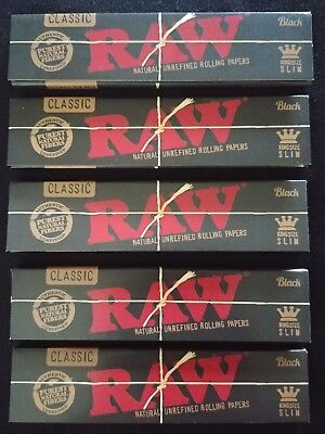 5 x Raw Black Hemp King Size Slim Rolling Papers Natural Unrefined Organic 110mm