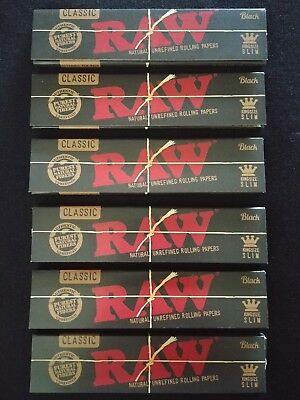 6 x Raw Black Hemp King Size Slim Rolling Papers Natural Unrefined Organic 110mm