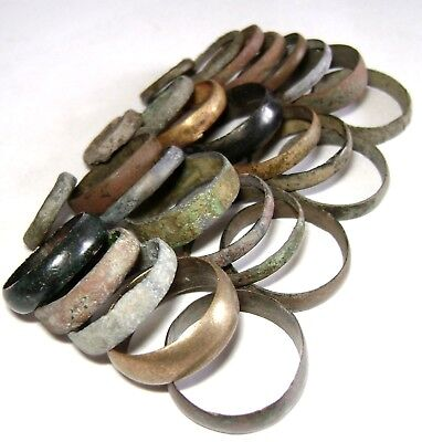 Ancient medieval lot of 27 bronze Rings