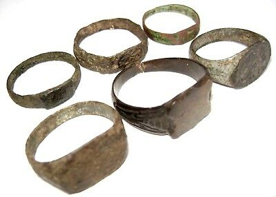 Ancient medieval lot of 6 bronze Rings.