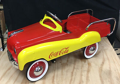 Gearbox Metal Coca Cola Pedal Car Vintage Nice Antique Red Yellow Coke Restored