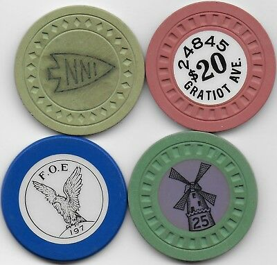 4 Different Illegal Casino Chips From Illegal Casinos-ROMAN POOLS-ARROWHEAD INN