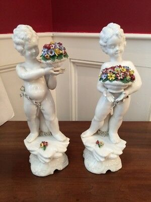 """Pr Of 12"""" Fine Porcelain Angels Cherubs Carrying Colorful Flowers Capodimonte?"""