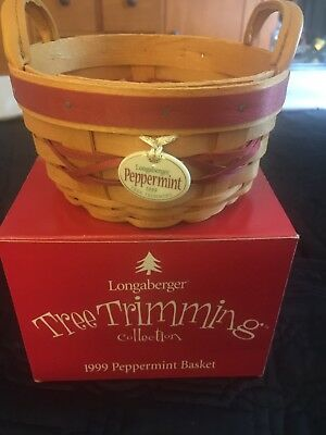 Longaberger TREE TRIMMING SERIES 1999 RED PEPPERMINT BASKET & TIE ON  & Orig Box