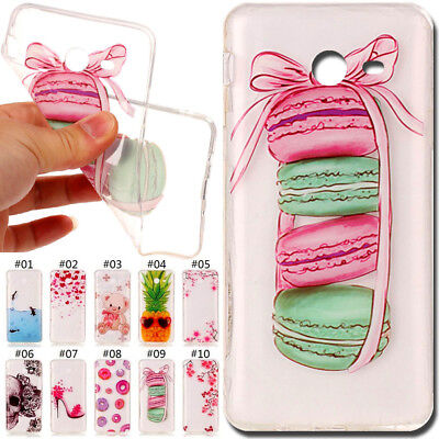 For Samsung Galaxy Painted Silicone Clear Back Skin Soft TPU Gel Slim Case Cover