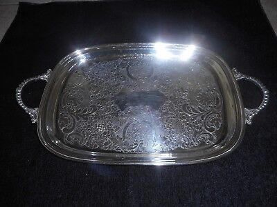 Vintage Oblong  Silver Plated Handled Serving Tray