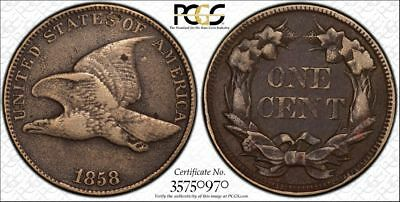 1858 Large Letters Flying Eagle Cent PCGS VF Details Cleaned