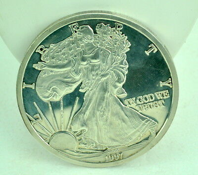 """Vintage 1997 USA 1 Pound Fine Silver Large Coin 3.5"""" NR"""