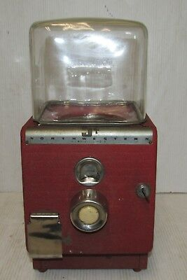 Vintage North Western 5 cent Gumball Vending Machine w/Key