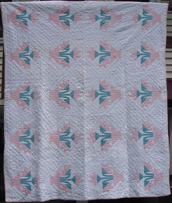 """Antique """"Carolina Lily"""" Quilt, Pink and Green Well Quilted, #17596"""