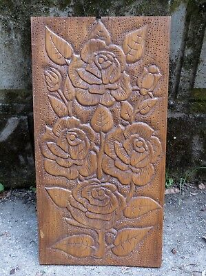 Sweet Vintage French Oak Wooden Panel Plaque with Hand Carved Roses