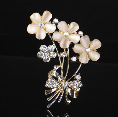 d38481d4c4a Elegant White Gold Plated Rhinestones Pink Flower Bouquet Wedding Brooch Pin