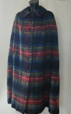 Vintage EDINBURGH WOOLLEN MILLS Tartan Check Cape Wool & Mohair  44 inches