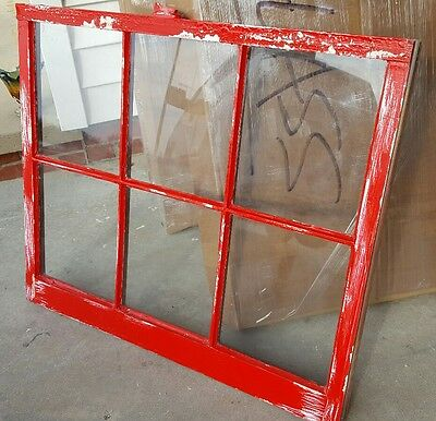 Vintage Sash Antique Wood Window Frame Pinterest Distressed Red 32X28 Farm House