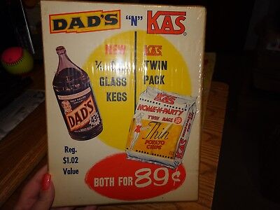DAD's ROOT BEER n KAS POTATO CHIPS Store Display Paper SIGN Vintage Advertising