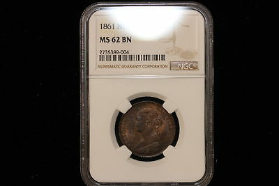 1861 Canada / New Brunswick. One Cent. NGC Graded MS-62 BN.