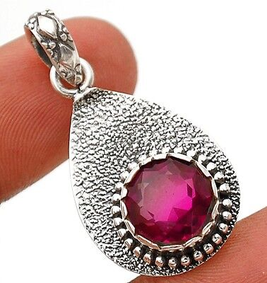 """3CT Rubellite Tourmaline 925 Solid Sterling Silver Pendant Jewelry 1 1/3"""" Long"""