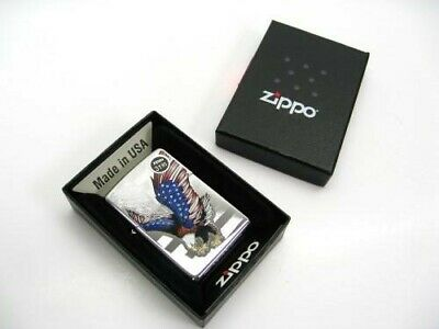 Zippo High Polish Chrome Eagle w/ American Flag Classic Windproof Lighter 28449