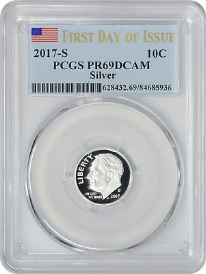 2017-Silver Roosevelt Dime PR69DCAM PCGS Proof 69 DC First Day of Issue FDOI