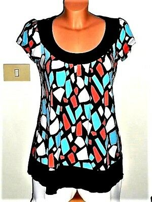 M-38_Tunique Bleu Turquoise/Noir/Blanc/Orange_Vêtements Femme_T Shirt_Woman Top