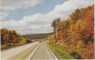 Interstate 80 in Pennsylvania PA in the Fall 1984 Vintage Postcard Chrome