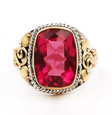 6CT Three Tone- Rubellite Tourmaline 925 Solid Sterling Silver Ring Jewelry Sz 9