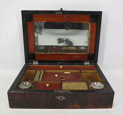 Antique 19th Century Mahogany Travel Sewing Box w/ Mirror & Bone Increments yqz