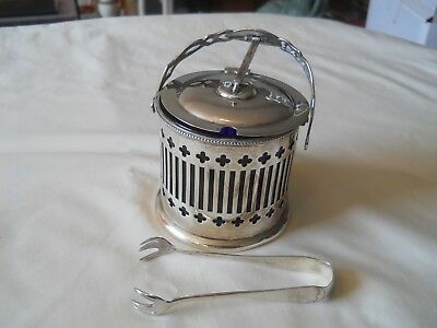 Birks Sterling Silver Mustard Condiment Pot & Tongs