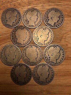 Barber half dollar lot 10 Different Date Or Mint Mark