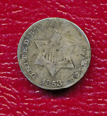 1853 Three Cent Silver Coin **very Nice - Circulated** Free Shipping!!