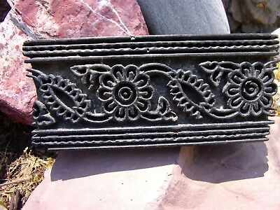 antique PRIMITIVE wood fabric dye~printing BLOCK~hand carved FLOWER pattern OLD~