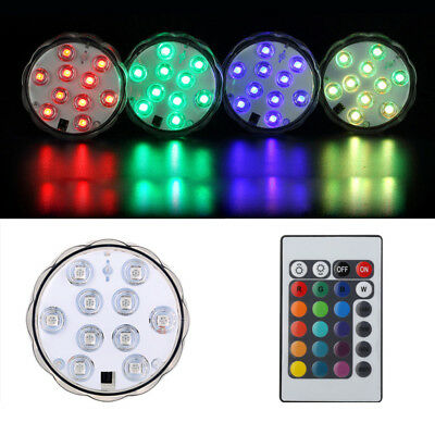 10pc RGB Submersible LED Lights IR Remote Control Waterproof Party Vase Decor WE
