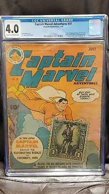 Captain Marvel Adventures #37 CGC Universal July 1944 Golden Age Superhero