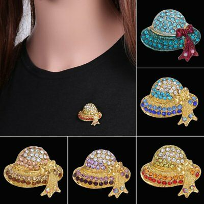 Fashion Rhinestone Crystal Hat Brooch Pin Lady Girl Party Costume Jewelry Gift