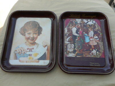 Lot of 2 Vintage Norman Rockwell 1975-76 Tin Tray Lasser's Beverage-Butter Girl