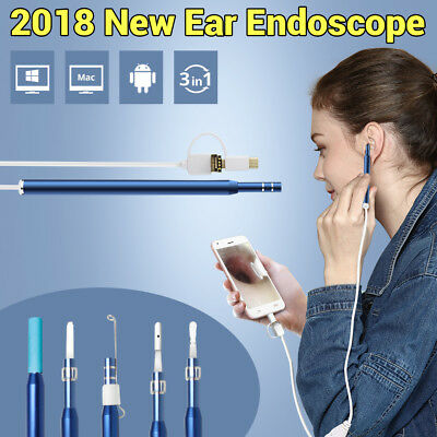 3 in 1 HD 720P Ear Cleaning Endoscope with 6 LED Light Mini Ear Wax Remover Tool