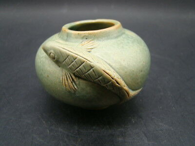 Chinese 19th century nice decorated green glazed small jar  s953