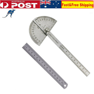 """0- 180 Stainless Steel Protractor Angle Finder Arm Measuring 100mm+6"""" 150mm Rule"""