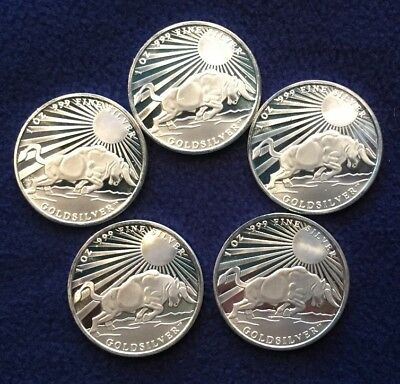 Lot of 5, 1 oz Silver Bull Rounds by GoldSilver, BU