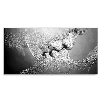 Black White Love Kiss Abstract Canvas Painting Wall Art Picture Print Decor R2X4