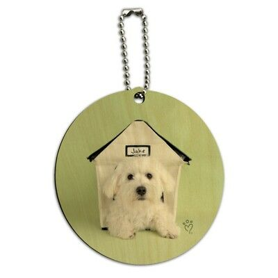 Bichon Frise Maltese Puppy Dog in House Round Wood Luggage Card Carry-On ID Tag