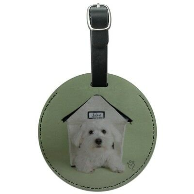 Bichon Frise Maltese Puppy Dog in House Round Leather Luggage Card ID Tag