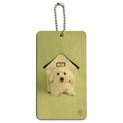 Bichon Frise Maltese Puppy Dog in House Wood Luggage Card Carry-On ID Tag